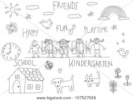 Kindergarten Children Pencil Doodle Drawing Of A Friend And Kid Imagination Playing Environment Such