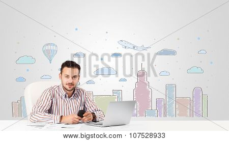 Attractive young businessman with city sky-scape background