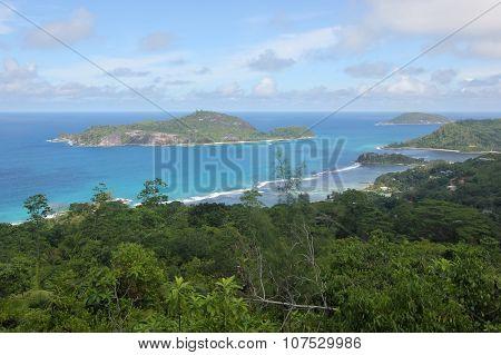Views Of The Blue Sky, Blue Sea And Islands On Mahe