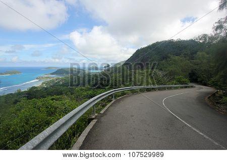 Road, Sky, Blue Sea And Islands. Seychelles