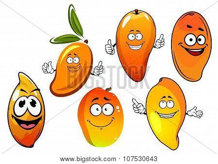 Orange and yellow cartoon mango fruits