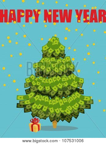 Christmas Tree Out Of Money. Happy New Year. Snowfall Of Coins. Dollars On  Tree. Plant Wealth.