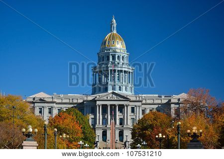Colorado State Capitol Building With Colorful Fall Leaves
