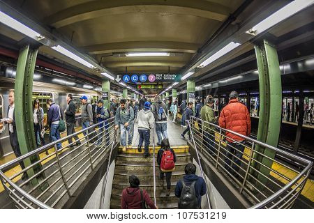 People Wait At Subway Station Times Square In New York