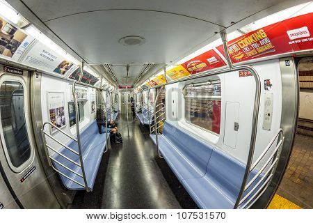 People Travel In The Metro In  New York