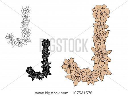 Floral font capital letter J with blooming flowers