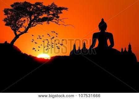 Sunset with Buddha tree bird and Pagoda