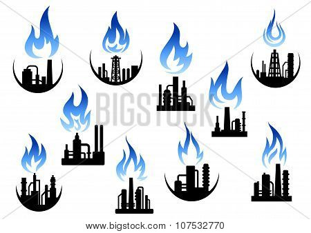 Industrial plants and factories icons