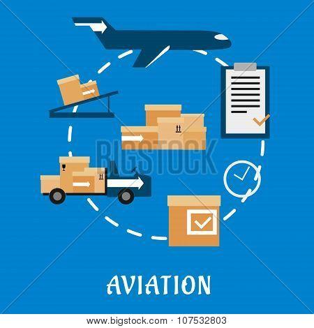 Air cargo and logistics flat design
