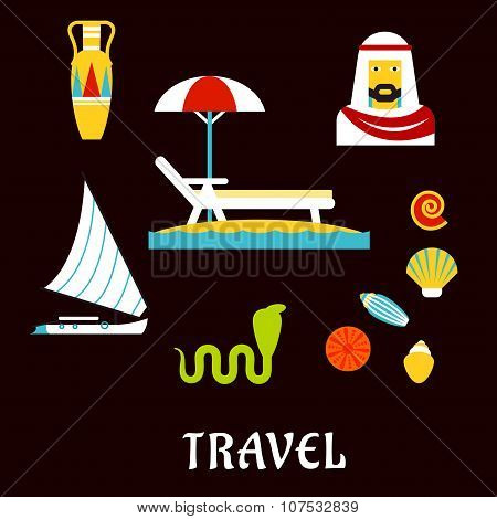 Egypt travel and beach vacation flat icons