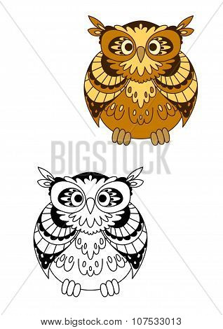 Retro stylized brown owl bird mascot