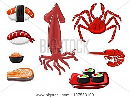 Fresh healthy seafood set in cartoon style