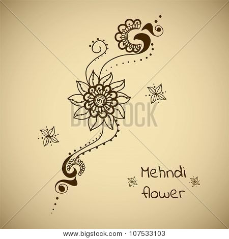 Vector Floral Ornament In Indian Style. Mehndi Ornamental Flowers