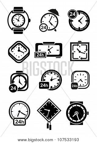 Clocks, wristwatches and alarm clocks icons