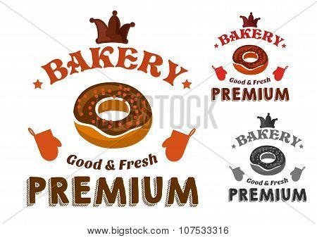 Pastry emblem with glazed doughnut and text