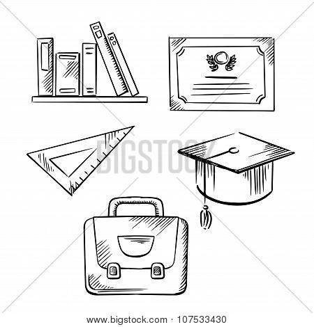 Diploma, cap, school bag, ruler and books