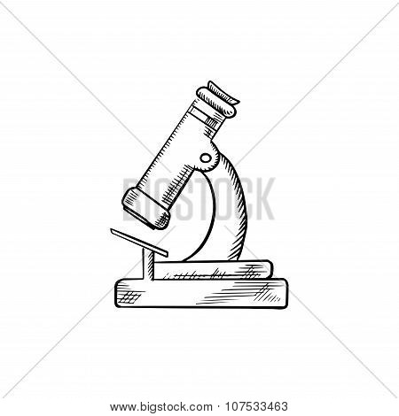 Laboratory optical microscope icon sketch