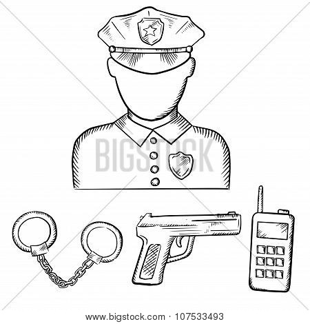 Policeman with handcuffs and gun  sketches