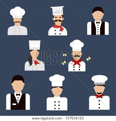Chefs, bakers and waiters flat avatar icons