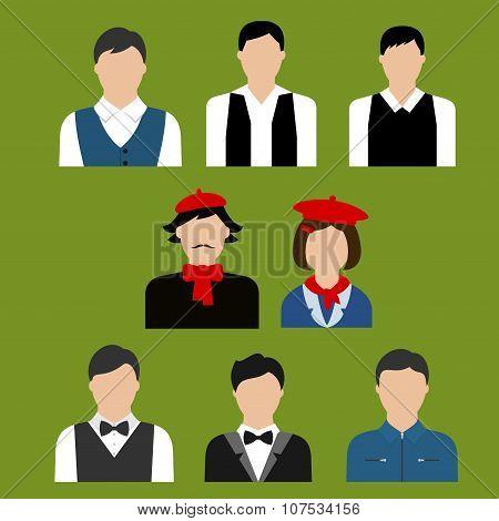 Art and culture professions flat avatars