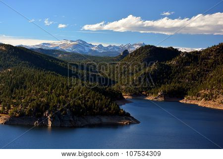 Mountain Reservoir With Snow Covered Peaks
