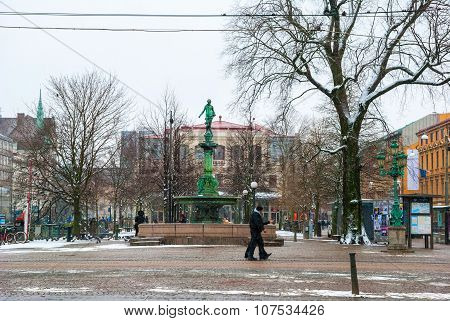 People Passing Jarntorget Square, Gothenburg