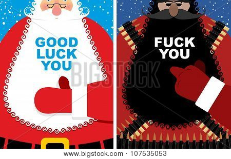 Christmas cards. Good Santa Claus and angry grandfather terrorist with Bandolier. Jolly Santa thumb
