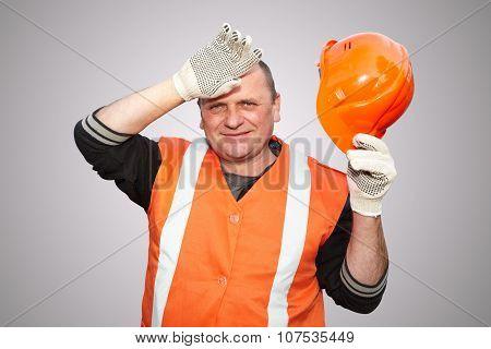 Mature Contractor And Helmet