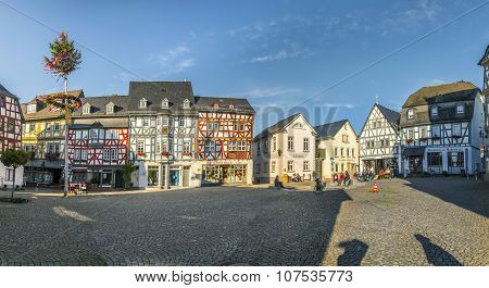 Historic Market Place In Bad Camberg With Halftimbered Houses