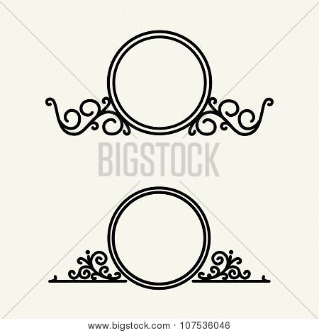 Vintage, stylish and graceful floral  emblem and monogram design , elegant line art  template