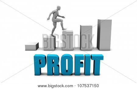 Profit 3D Concept  in Blue with Bar Chart Graph