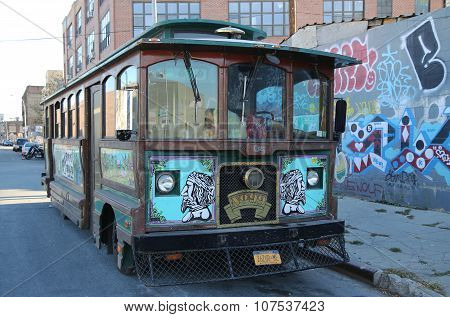 Old trolley covered with graffiti in Brooklyn