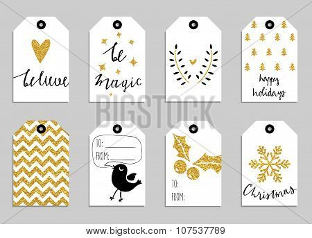 Collection of gold Christmas and New Year cute gift tags