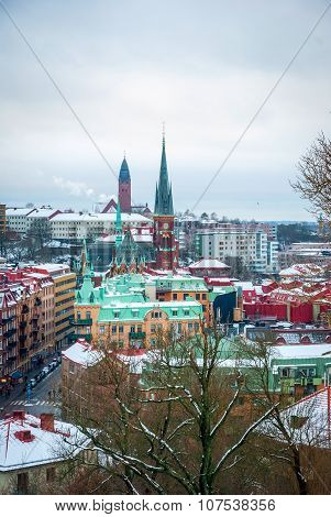 View Over Gothenburg In Winter, Sweden