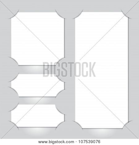Set Of White Paper Cut With Shadow On The Grey Background. Stock Vector