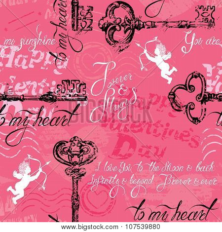 Seamless Pattern With Old Key In Grunge Style And Calligraphic Text, On Pink Background. Happy Valen