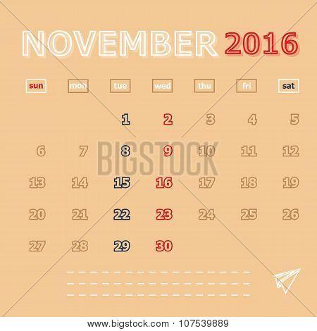 November 2016 Monthly Calendar Template