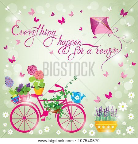 Image With Flowers In Pots And Bicycle On Sky Blue Background. Design For Birthday Invitation Card.