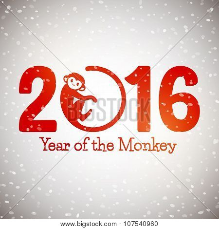 Cute New Year Postcard With Monkey Symbol On Snow Background, Year Of The Monkey 2016 Design, Vector