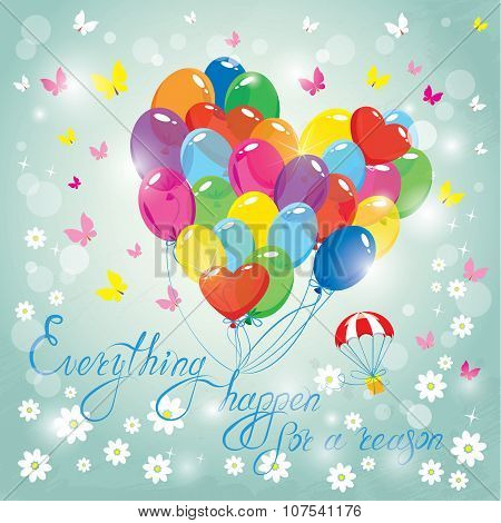 Image With Colorful Balloons In Heart Shape On Sky Blue Background. Design For Birthday Invitation C