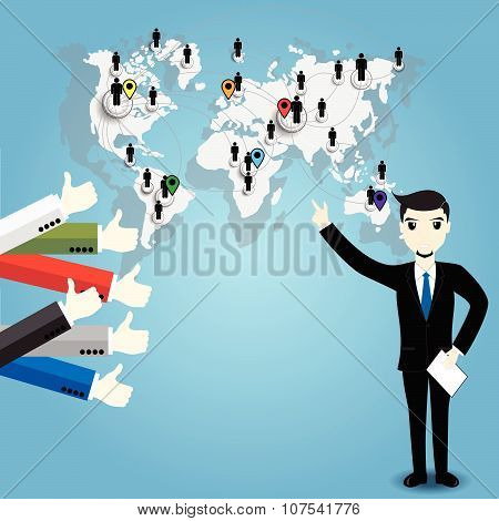Businessman With World Map