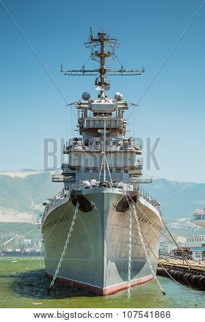 NOVOROSSIYSK, RUSSIA - JULy 05, 2015: The cruiser Mikhail Kutuzov at the dock in Novorossiysk. Moored on eternal Parking as a cruiser-Museum. Novorossiysk is a city on the coast of Black sea.