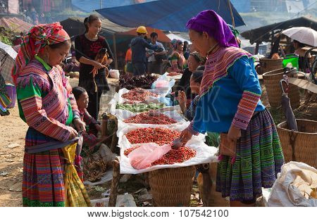 Hmong tribe people selling chili pepper and other agriculture products