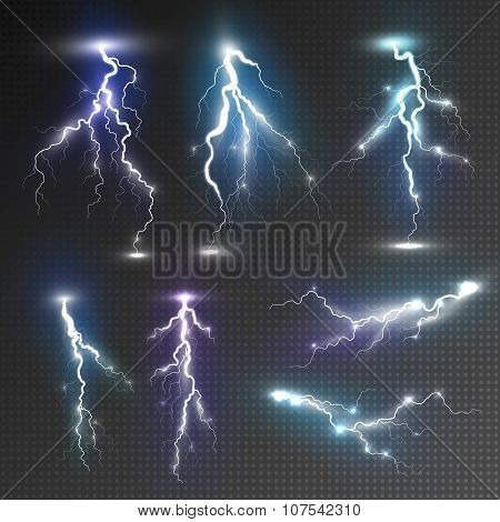 Realistic lightnings set with transparency for design. Magic and bright lighting effects. Natural effects. Storm concept. Storm illustration. Storm realistic concept. Thunder lightnings concept