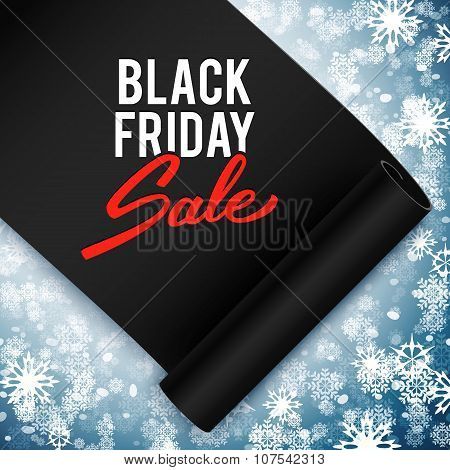 Black Friday Sale Advertising Vector Illustration, Black Realistic Ribbon, Retail, Discount, Special