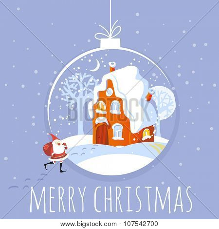 Christmas  card winter landscape vector template