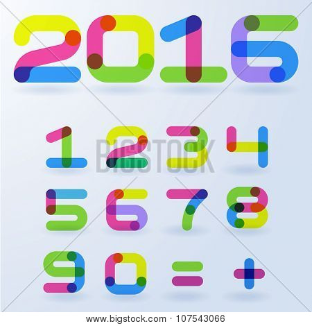 Vector abstract transparent rainbow  numbers