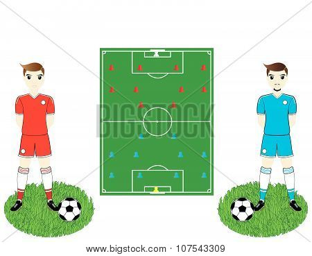 Soccer Field And Players
