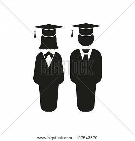 The student boy and girl icon. School, academy, college, education symbol. Flat