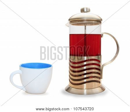 French press for making coffee and tea isolated over white
